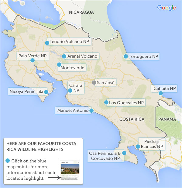 Costa Rica wildife map and highlights Helping Dreamers Do