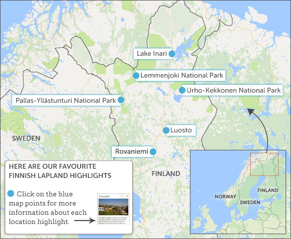 Finnish Lapland Travel Guide Helping Dreamers Do - Norway map highlights