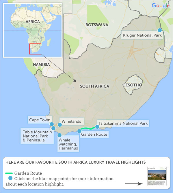 South Africa Luxury Travel Map Highlights Helping Dreamers Do - Make a trip map