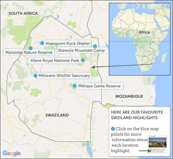 Swaziland Travel Guide Helping Dreamers Do - Swaziland map