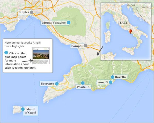 Amalfi Coast Travel Guide Responsible Guide To The Amalfi Coast - Vesuvius map