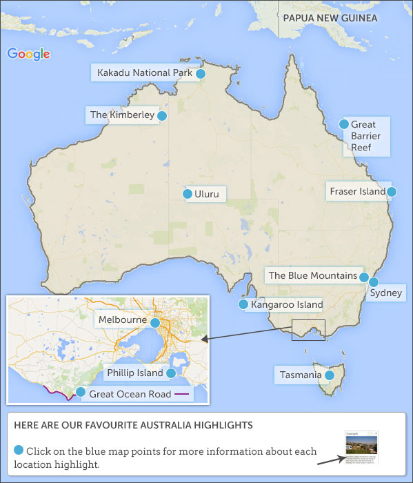 Australia travel itineraries and map Helping Dreamers Do
