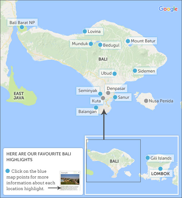 Bali map highlights helping dreamers do bali map highlights altavistaventures Images