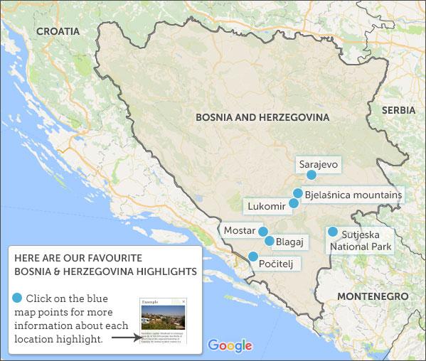 BosniaHerzegovina Travel Guide Responsible Guide To Bosnia - Bosnia and herzegovina interactive map