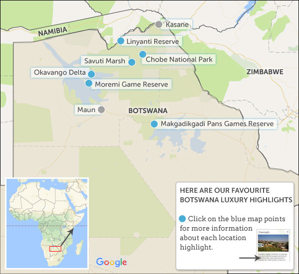 botswana luxury travel map highlights