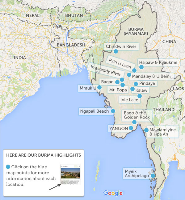 Burma highlights burma highlights and travel itineraries myanmar map highlights publicscrutiny Image collections