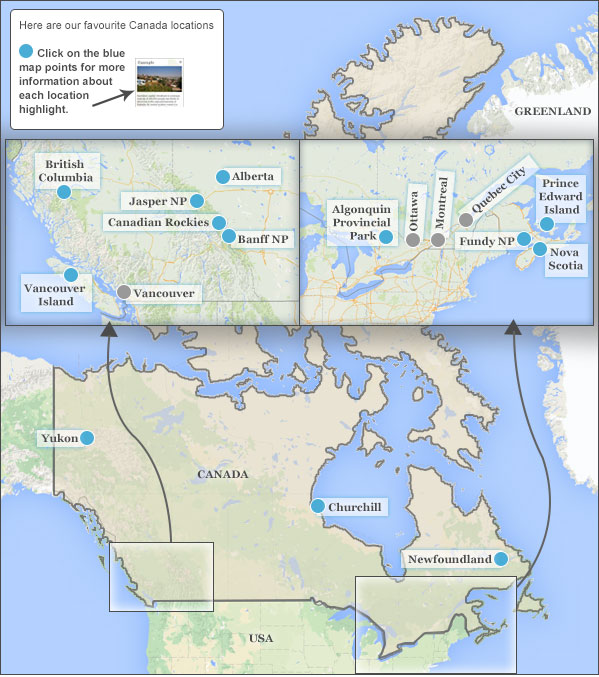 Places To Visit In Canada Responsible Travel Guide To Places To - Mountains in canada map