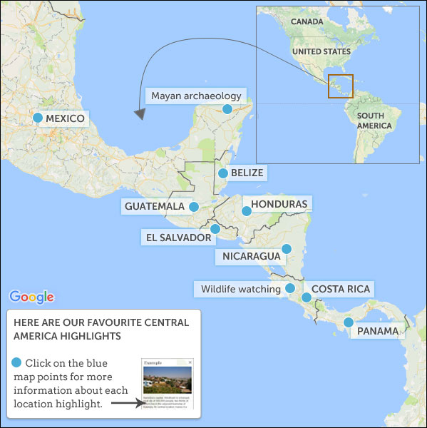 Central America overland routes & highlights. Helping Dreamers Do.