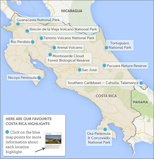Costa Rica itineraries. Responsible travel guide to Costa ... on make an map, make a letter, make an invitation, make an application, make an invoice,