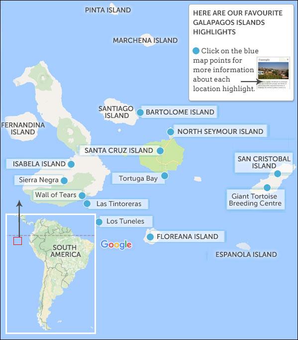 Galapagos Land Based Map Highlights