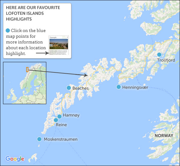 Lofoten Islands Travel Guide Helping Dreamers Do - Norway map highlights