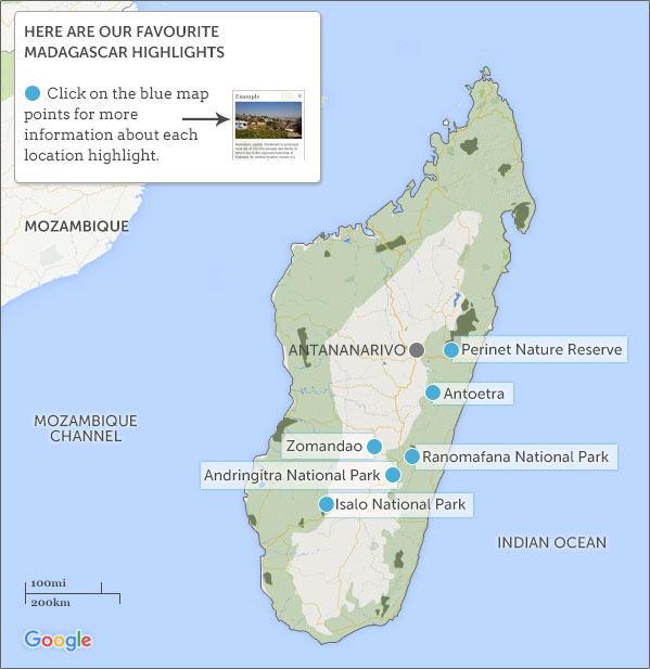 Madagascar walking map and highlights Helping Dreamers Do