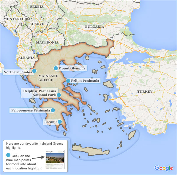 Mainland Greece Travel Guide Responsible Travel Guide To Mainland - Olympus map