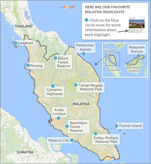 Malaysia map & highlights. Helping Dreamers Do on amur tiger map, sumatran tiger map, dhole map, african tiger map, indochinese tiger map, chinese tiger map, caspian tiger map, tiger habitat map, golden tiger map, south china tiger map, malayn tiger map, asiatic cheetah map,