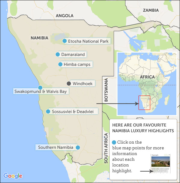Namibia Luxury Holidays Map Highlights Helping Dreamers Do