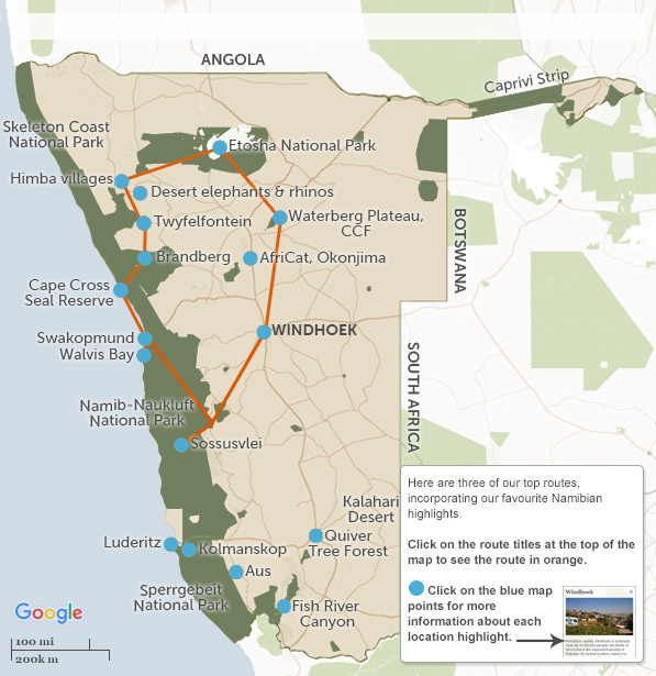 namibia itineraries maps