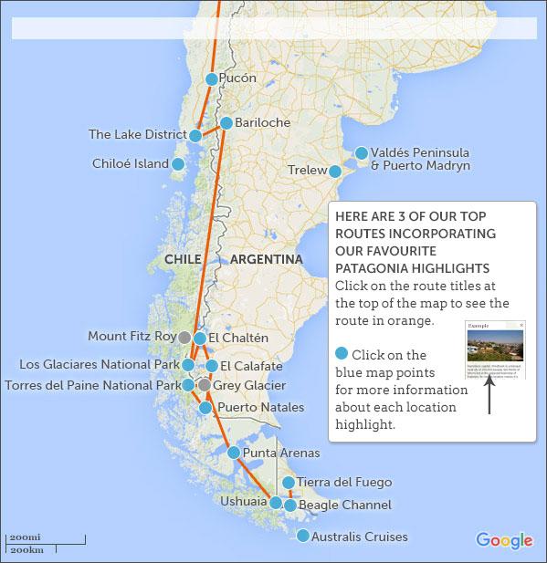 Patagonia On Map Patagonia itineraries. Responsible travel guide to Patagonia  Patagonia On Map