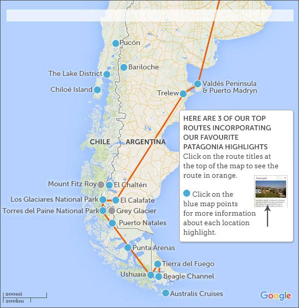Patagonia Itineraries Responsible Travel Guide To Patagonia - Argentina map puerto madryn