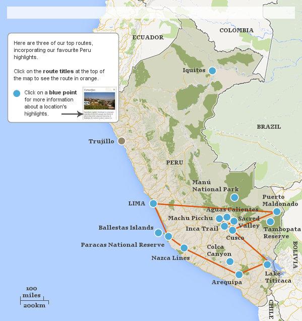 Peru Highlights Itineraries Responsible Travel Guide To Perus - Peru map