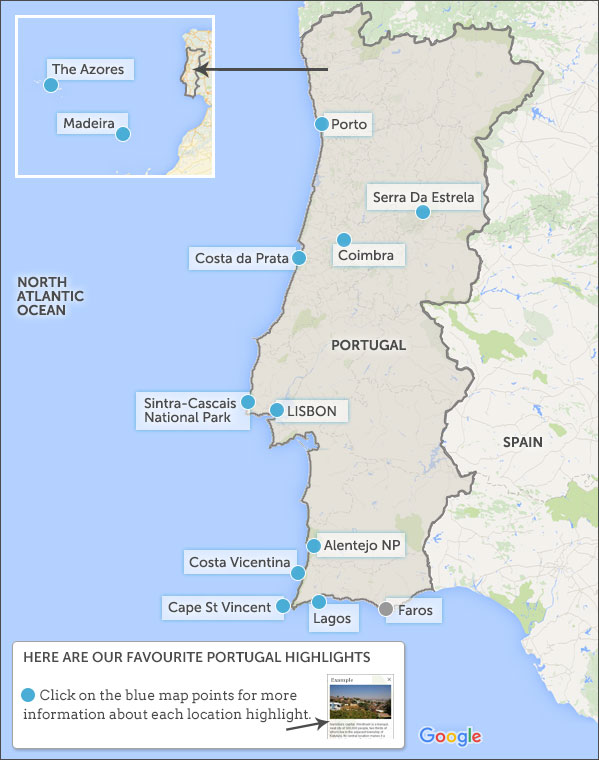 Portugal Map Highlights Portugal Highlights And Best Places To - Portugal map coimbra
