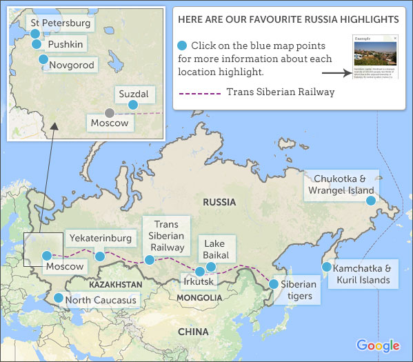 Russia map & highlights. Helping Dreamers Do