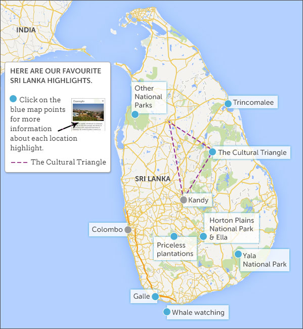 Sri Lanka luxury travel map highlights Helping Dreamers Do