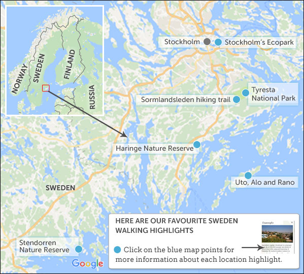 Where To Go Walking In Sweden Helping Dreamers Do - Uto sweden map