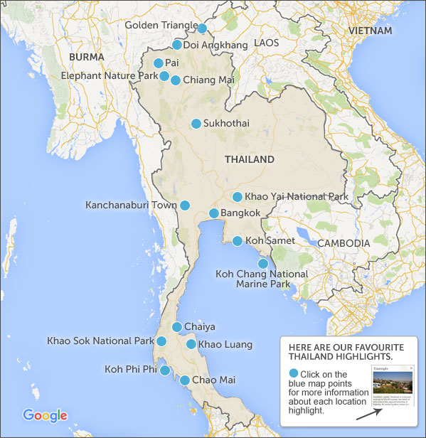 Thailand itineraries. Thailand travel itineraries and highlights on