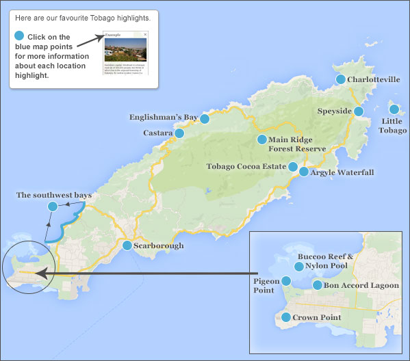 Tourist Map Of Tobago Where to go in Tobago. Tobago highlights and best places to go