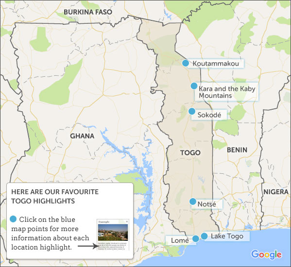 Togo Travel Guide Helping Dreamers Do - Togo map