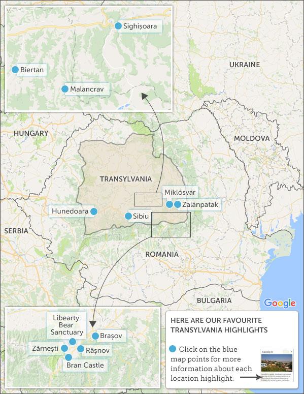 TRANSYLVANIA MAP U0026 HIGHLIGHTS