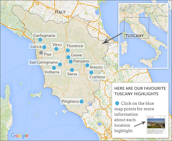 Where To Go In Tuscany - Map tuscany
