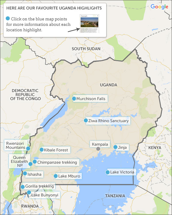 Uganda Map Highlights Helping Dreamers Do - Map of uganda