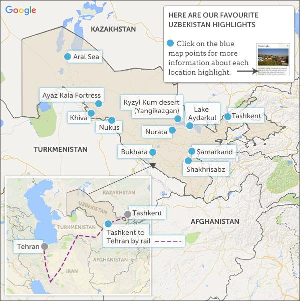 Uzbekistan Map Highlights Helping Dreamers Do - Uzbekistan map