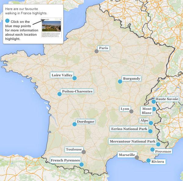 France walking holiday highlights.