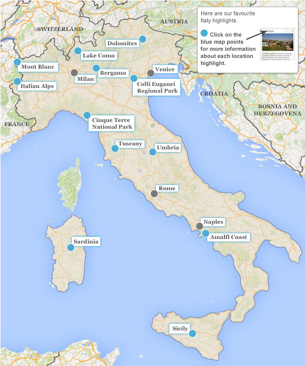 Italy walking holiday highlights map gumiabroncs Choice Image