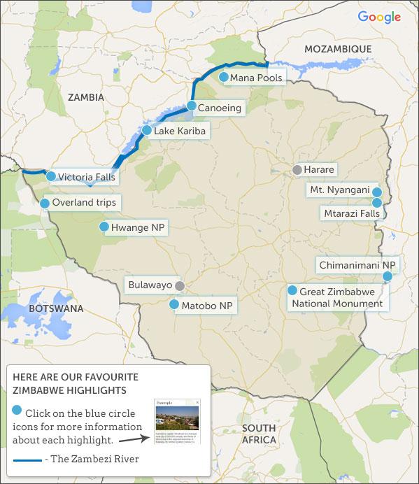 Zimbabwe map & highlights. Helping dreamers do