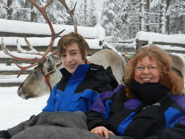 Family winter holiday to Lapland, Finland with log cabin stay
