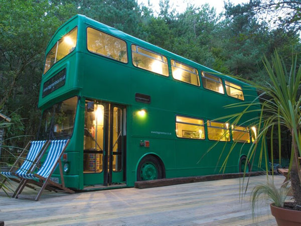 Double decker bus accommodation in Sussex, England