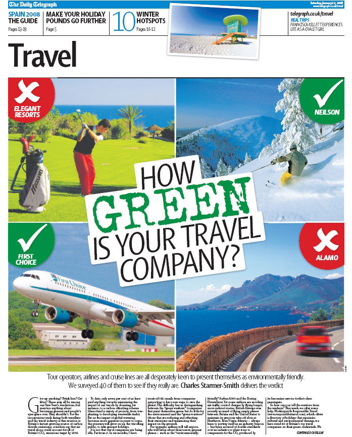 Front cover of travel magazine with green travel audit