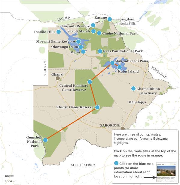 Botswana itineraries maps Choose your Botswana itinerary