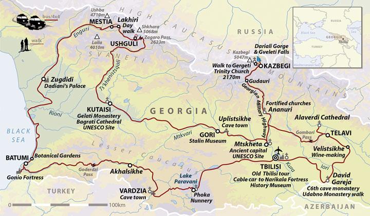 Georgia Cultural Holiday Georgia Explorer Helping Dreamers Do - Georgia kazbegi map