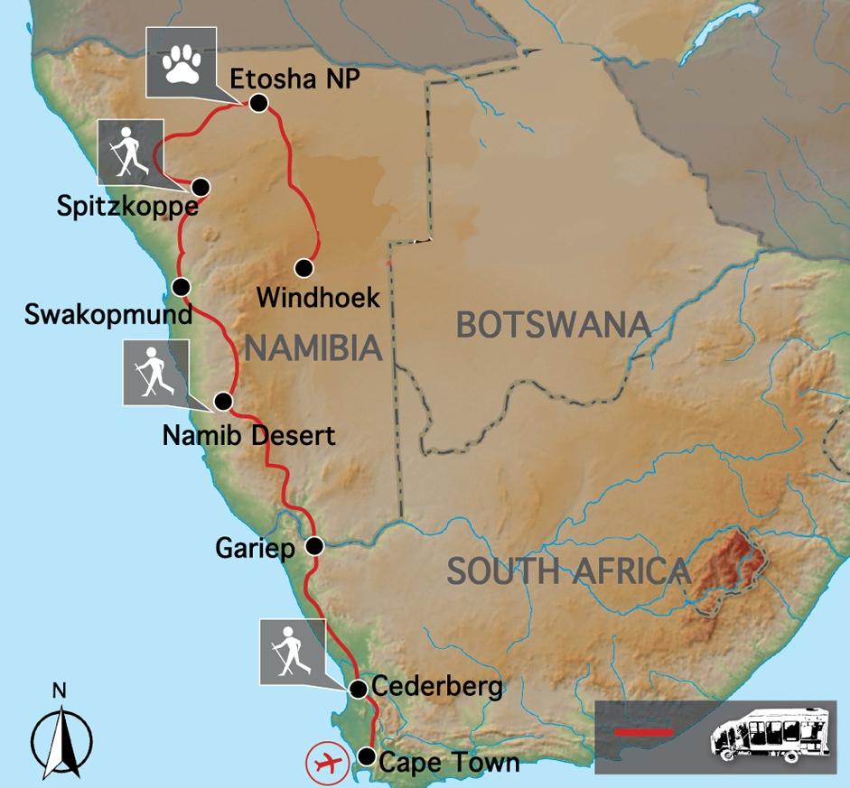 Africa Map Namib Desert.Cape To Windhoek Namib Desert Camping Safari Helping Dreamers Do