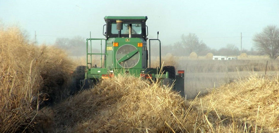Tractor harvesting crops for biofuel