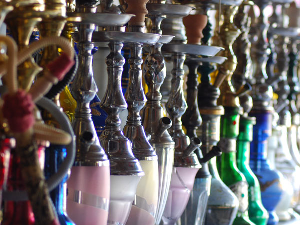 Hookahs lined up in a shop in Turkey