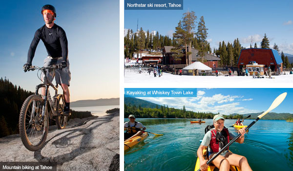 Cycling in Tahoe, Northstar ski resort in Tahoe and kayaking in Whiskey Town Lake