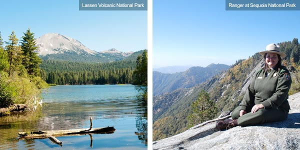 Lassen Volcanic National Park and Ranger at Sequoia National Park