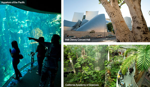 Aquarium of the Pacific, Walt Disney Concert Hall and California Academy of Sciences