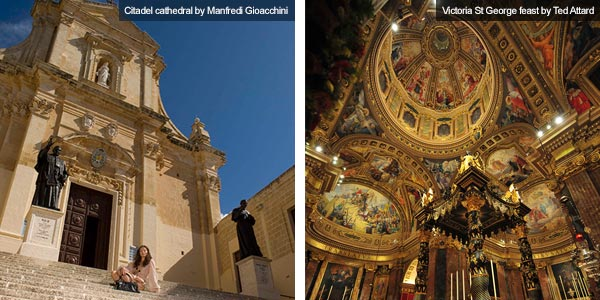 Citadel and church interior, Gozo. Photos by Manifred Gioacchini and Ted Attard