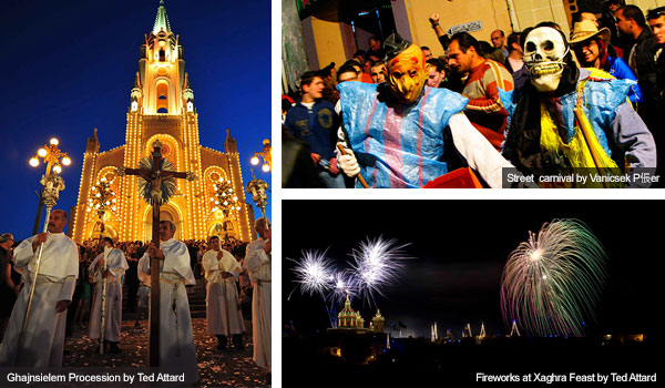 Fireworks, carnival and church, Gozo. Photos by Ted Attard and Vanicsek P?er